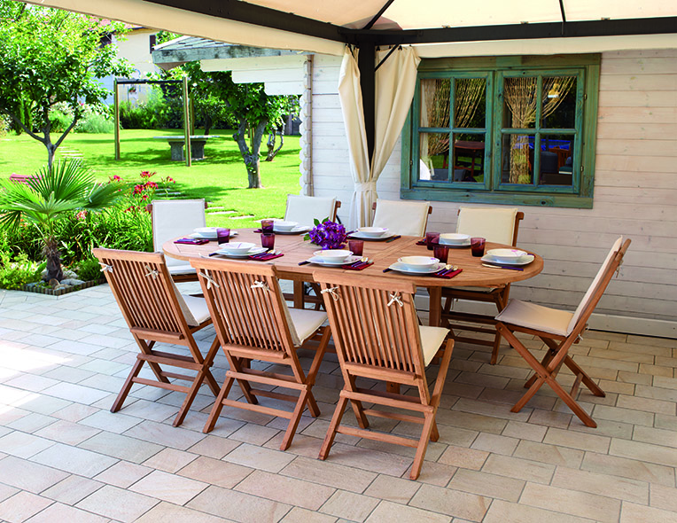 Tavolo ovale allungabile in teak tavoli linea teak for Arredo giardino legno